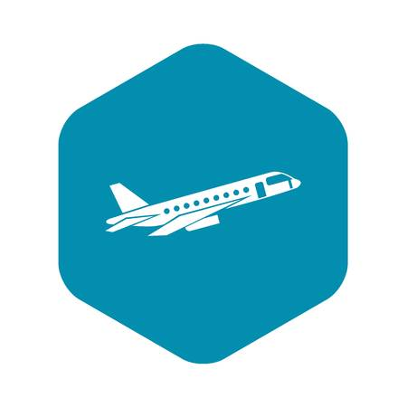 Airplane taking off icon in simple style isolated on white background vector illustration Иллюстрация