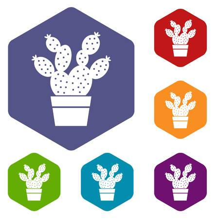 Prickly pear icon, simple style