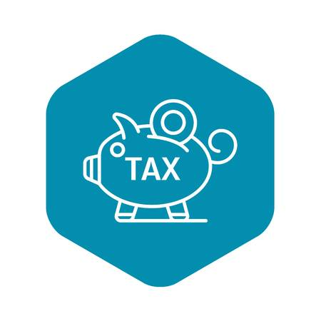 Piggy bank tax icon. Outline piggy bank tax vector icon for web design isolated on white background
