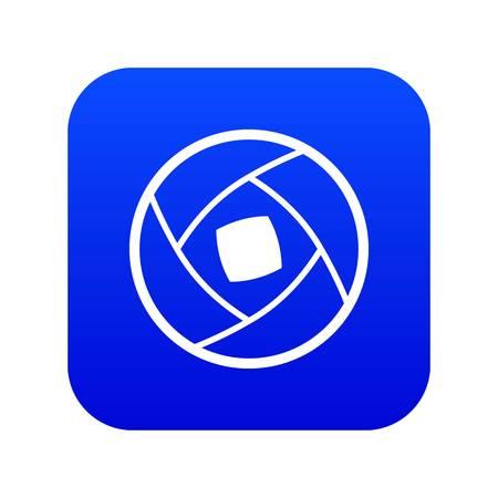 Semi-closed lens icon digital blue 向量圖像