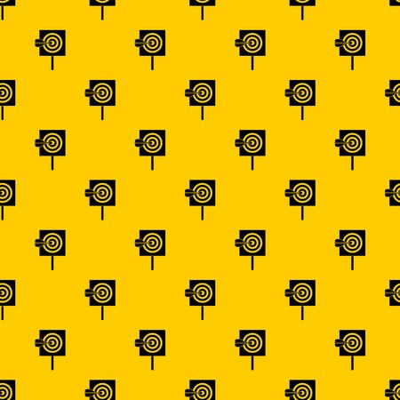 Arrow in the center of target pattern seamless vector repeat geometric yellow for any design
