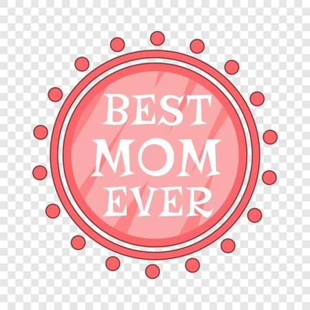 Best Mom Ever pink circle icon. Cartoon illustration of Best Mom Ever pink circle vector icon for web