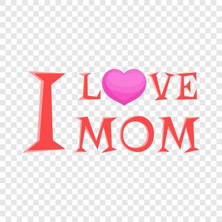 I love mom lettering icon. Cartoon illustration of I love mom lettering vector icon for web