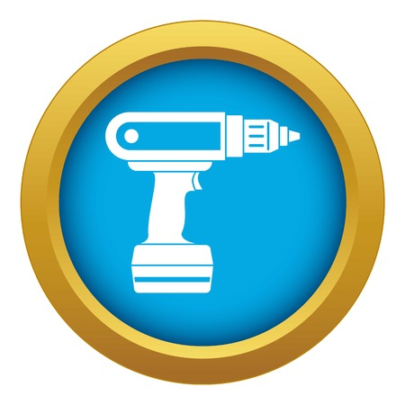 Electric screwdriver drill icon blue vector isolated on white background for any design