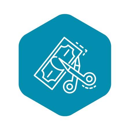 Schere schneiden Geldsymbol. Umrissschere schneidet Geldvektorsymbol für Webdesign isoliert auf weißem Hintergrund