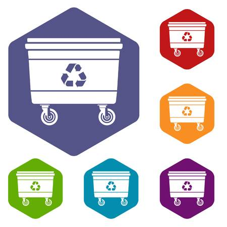 Street waste icon, simple style Illustration