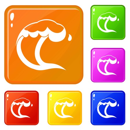 Ocean or sea wave icons set collection vector 6 color isolated on white background