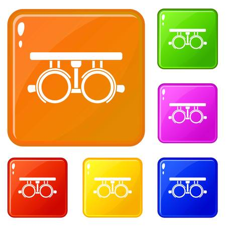 Trial frame for checking patient vision icons set collection vector 6 color isolated on white background Stock Illustratie