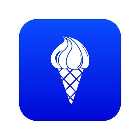 Lemon ice cream icon blue vector isolated on white background