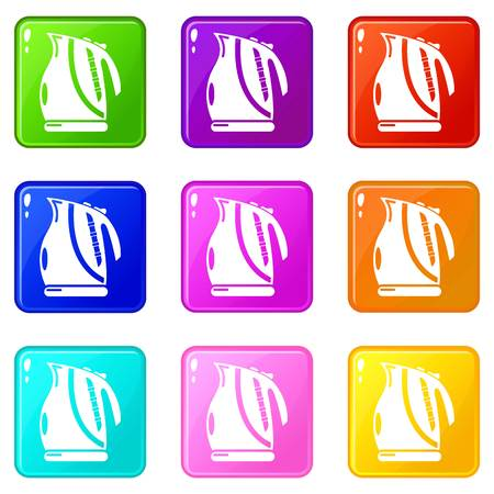 Kettle power icons set 9 color collection isolated on white for any design Illustration
