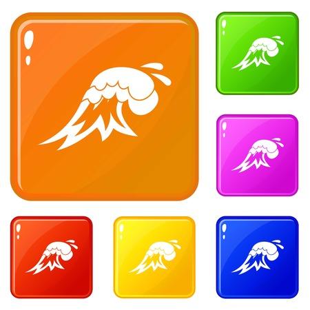 Surf wave icons set vector color Illustration