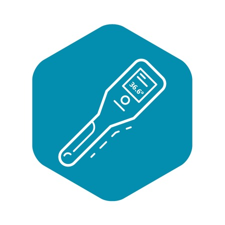 Body thermometer icon. Outline body thermometer vector icon for web design isolated on white background Çizim