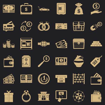 Amount of money icons set. Simple set of 36 amount of money vector icons for web for any design Ilustração