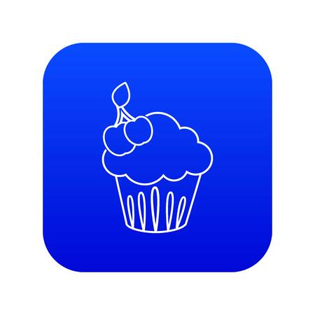 Cherry cupcake icon blue vector isolated on white background
