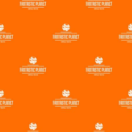 Fantastic planet pattern vector orange