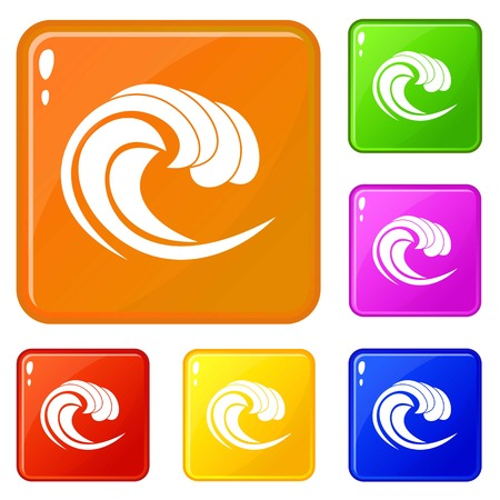 Wave of sea tide icons set vector color