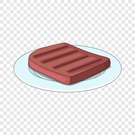 Beef steak on a plate icon. Cartoon illustration of beef steak on a plate vector icon for web