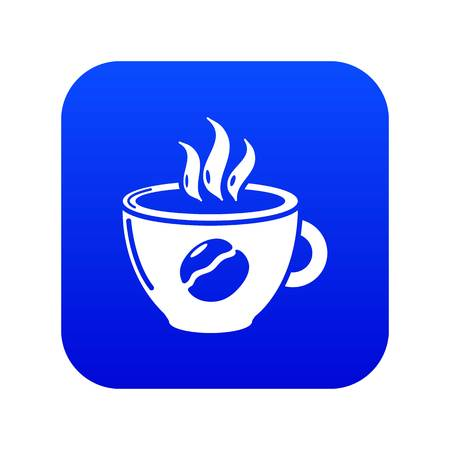 Cup coffee icon blue vector isolated on white background Иллюстрация