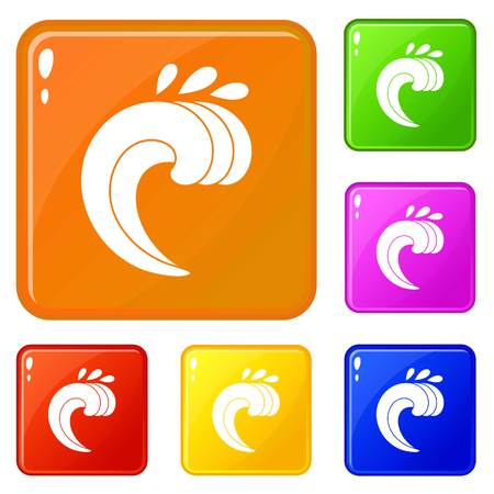 Large curling wave icons set collection vector 6 color isolated on white background