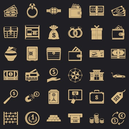 Sum of money icons set. Simple set of 36 sum of money vector icons for web for any design