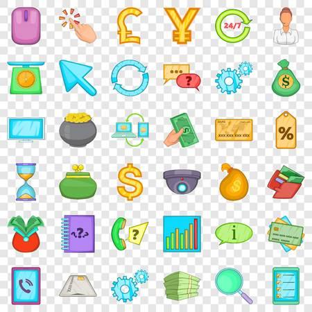 Exchange icons set, cartoon style