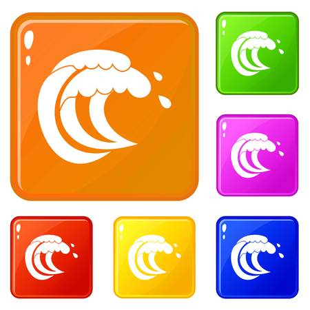 Wave of sea tide icons set collection vector 6 color isolated on white background