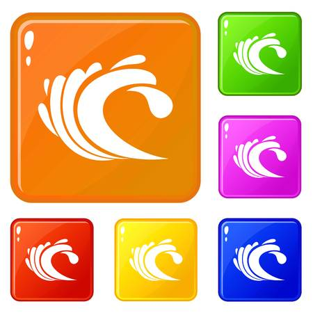 Wave icons set vector color