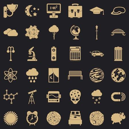 Space icons set. Simple set of 36 space vector icons for web for any design Foto de archivo - 130244082