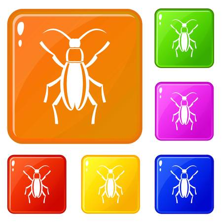 Beetle bug icons set vector color 向量圖像