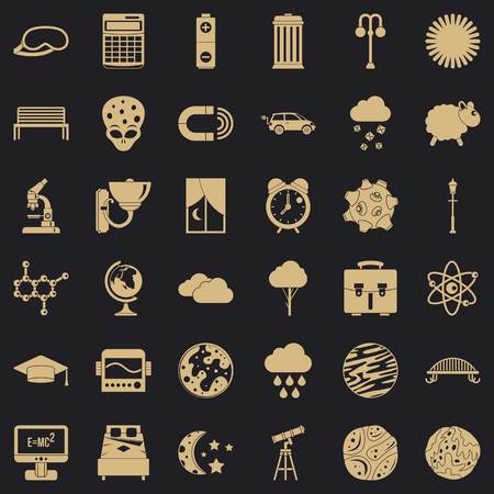 Outer space icons set, simple style