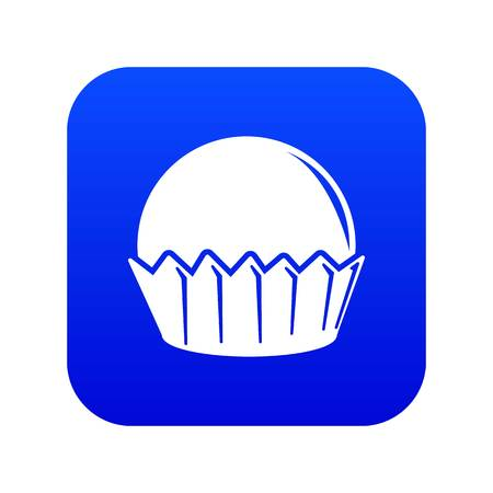 Cupcake icon blue vector isolated on white background