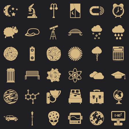 Deep space icons set. Simple set of 36 deep space vector icons for web for any design Vettoriali