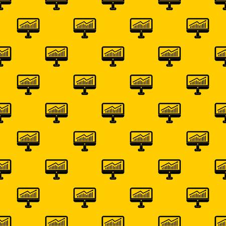 Growth graph on the computer monitor pattern seamless vector repeat geometric yellow for any design Illustration