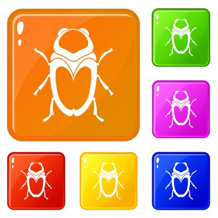 Scarab beetle icons set vector color 向量圖像