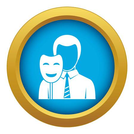 Businessman holding smile mask icon blue vector isolated on white background for any design Vettoriali