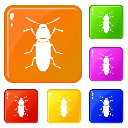 Cereal leaf beetle icons set vector color Vektorgrafik