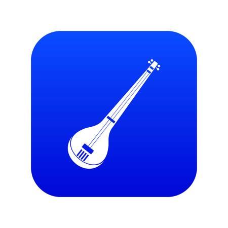 Indian guitar icon digital blue Illustration