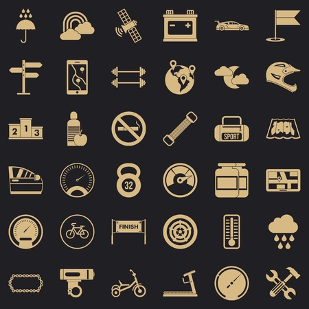 Riding icons set. Simple set of 36 riding vector icons for web for any design Foto de archivo - 130244185