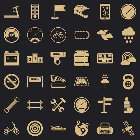 Motorsport icons set. Simple set of 36 motorsport vector icons for web for any design 스톡 콘텐츠 - 130244191