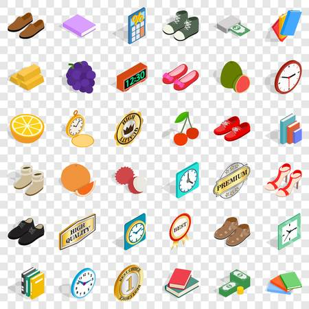 Fineness icons set, isometric style Çizim
