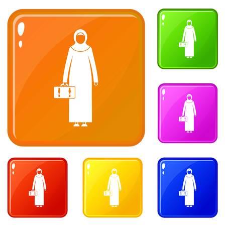 Arabic woman icons set vector color
