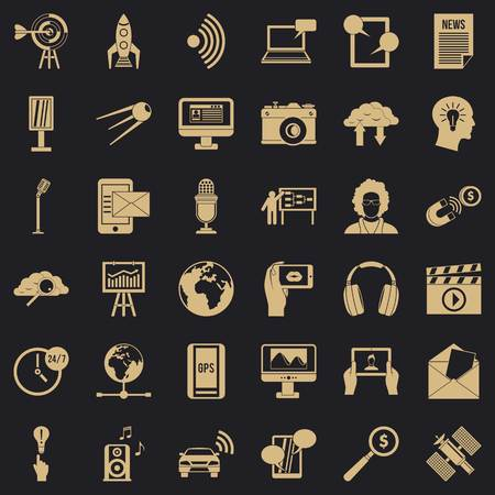 Multimedia things icons set. Simple set of 36 multimedia things vector icons for web for any design