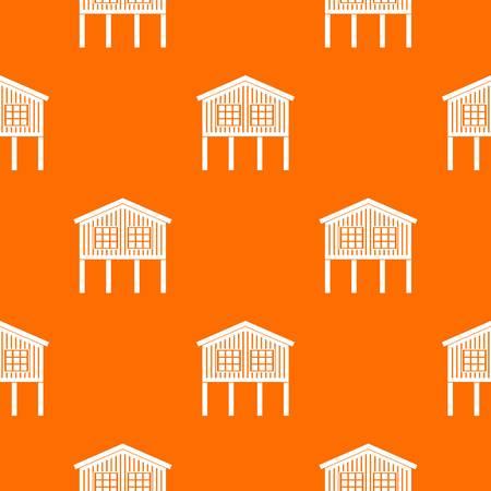 Stilt house pattern vector orange Ilustração