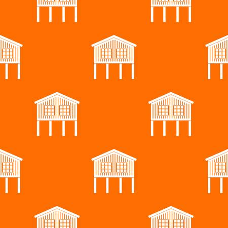 Stilt house pattern vector orange Illustration