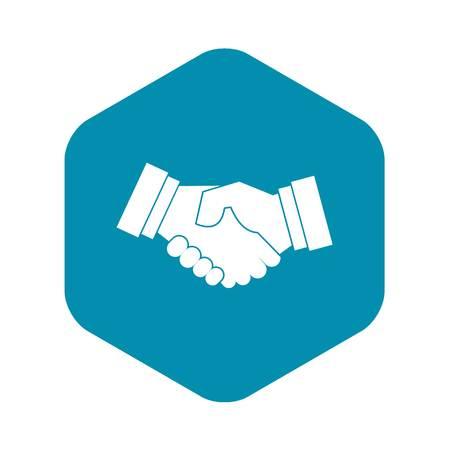 Icône de poignée de main dans un style simple sur une illustration vectorielle de fond blanc