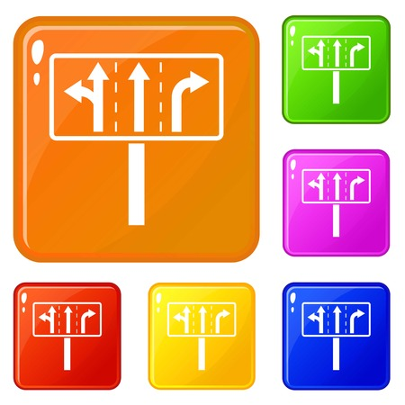 Traffic lanes at crossroads junction icons set collection vector 6 color isolated on white background