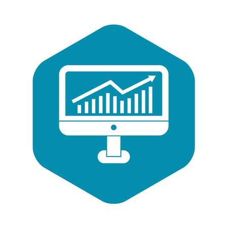 Growth graph on the computer monitor icon in simple style on a white background vector illustration Illustration