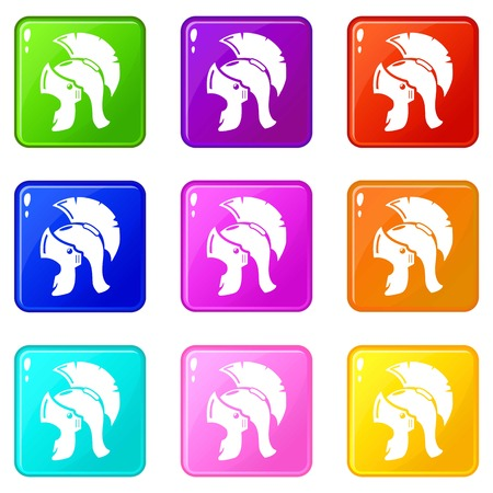 Roman helmet icons set 9 color collection isolated on white for any design