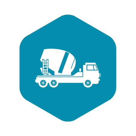 Concrete mixer truck icon in simple style on a white background vector illustration Stock Illustratie