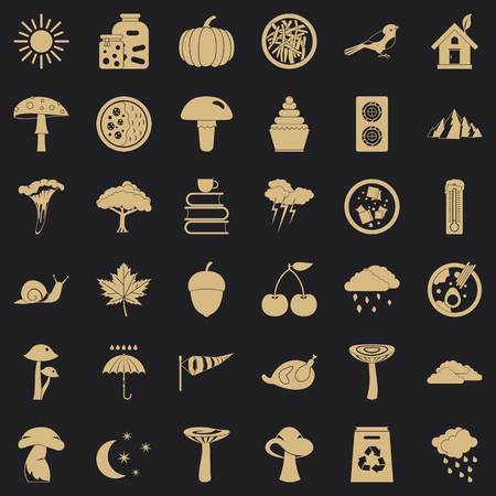 Afforestation icons set, simple style